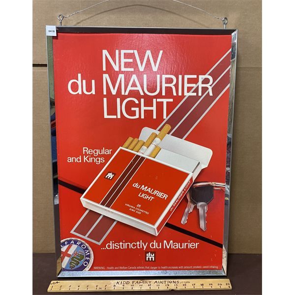 """PLAYERS & DU MAURIER METAL FRAMED DOUBLE SIDED CARDBOARD HANGING ADS - 20"""" X 28"""""""