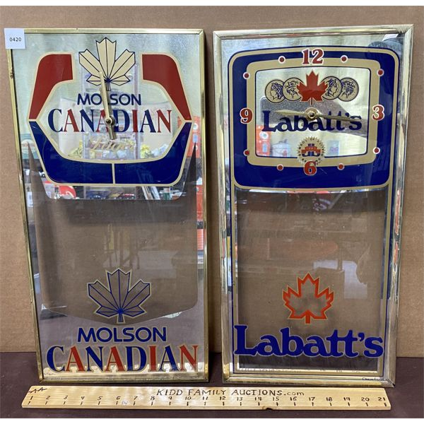LOT 0F 2 - BAR CLOCKS - MOLSON & LABATT'S