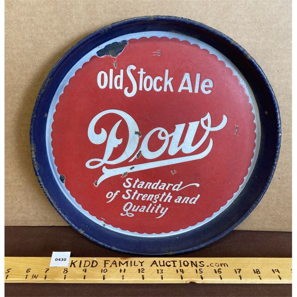 DOW OLD STOCK ALE PORCELAIN BEER TRAY