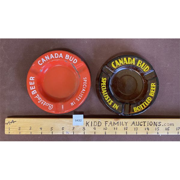 LOT OF 2 ASHTRAYS - CANADA BUD