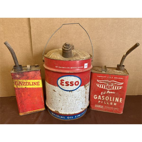 LOT OF 3 - FUEL CANS - ESSO & EAGLE