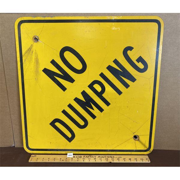 "NO DUMPING ROAD SIGN - 23.5"" SQ"