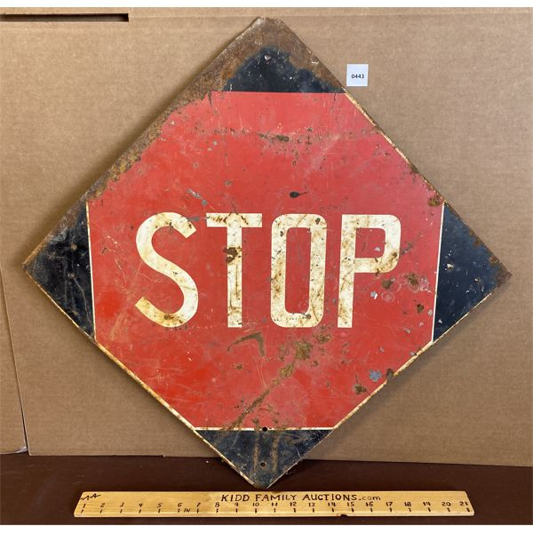 """VINTAGE STOP / SLOW SIGN - DBL SIDED - 24"""""""