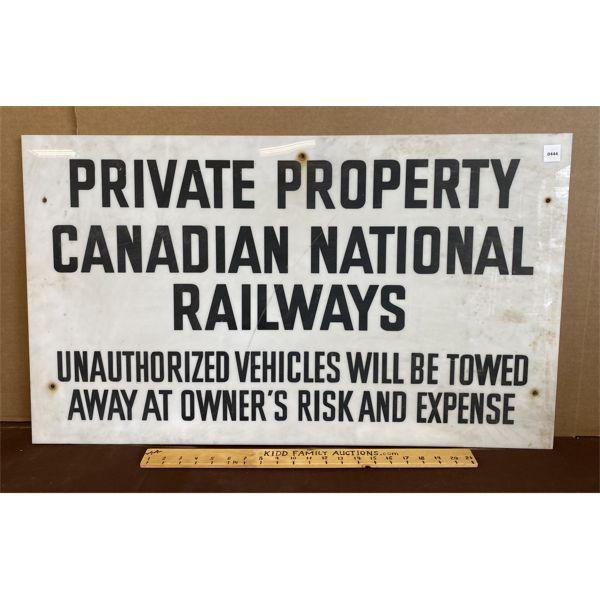"""CANADIAN NATIONAL RAILWAYS - ACRYLIC SIGN - 20"""" X 34"""""""