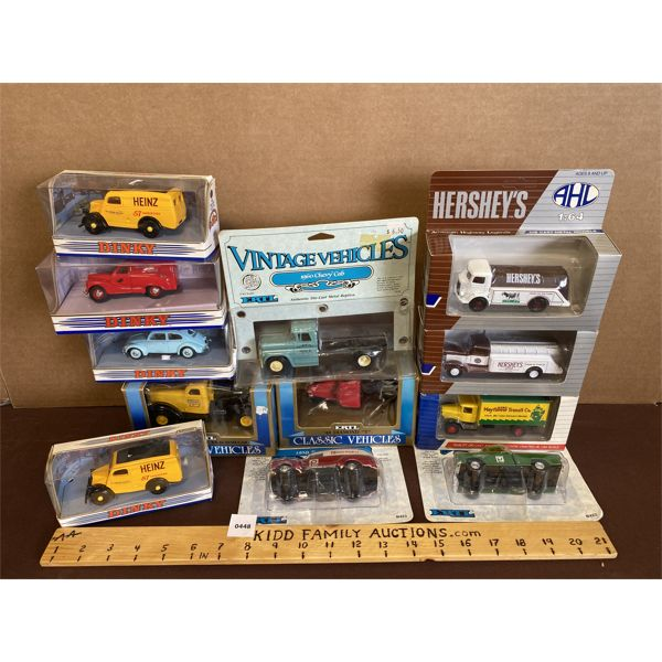 LOT OF 12 - DIE-CAST TOY VEHICLES IN BUBBLE BOX