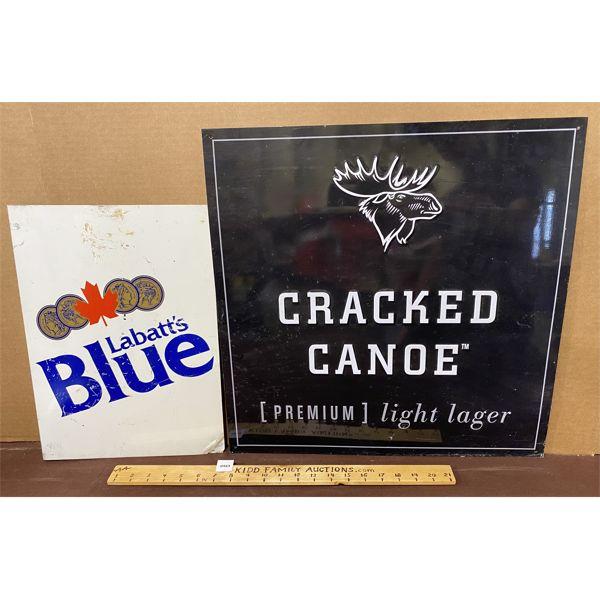 LOT OF 2 - LABATT'S BLUE DST FLANG & CRACKED CANOE SST SIGN