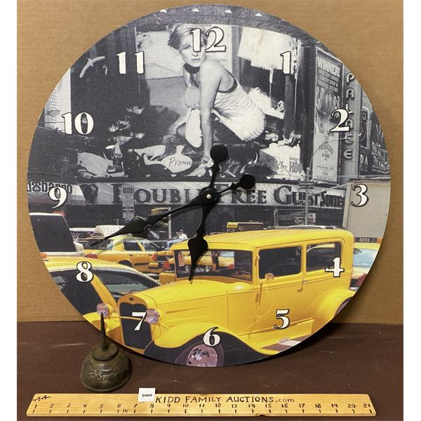 LOT OF 2 - FORD OILER & TIME SQUARE CLASSIC CAR CLOCK