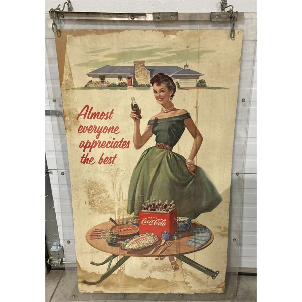 """LOT OF 2 - VINTAGE COCA-COLA POSTERS MOUNTED FOR DISPLAY - SEE BOTH SIDES - 29"""" X 50"""""""