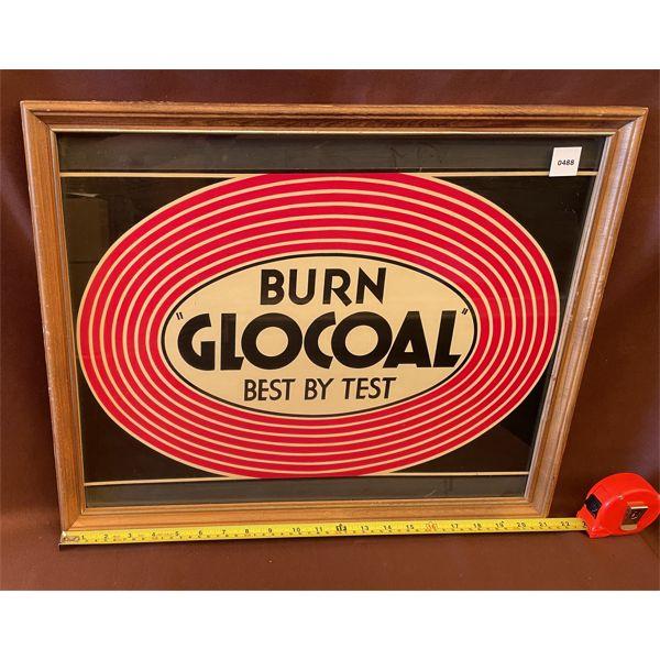 """FRAMED BURN GLOCOAL CARDBOARD SIGN - 17.5"""" X 21.5"""" FAMED"""