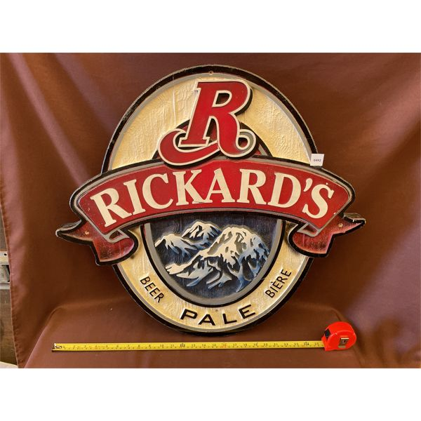"RICKARD'S EMBOSSED FOAM SIGN - 25"" X 27"""