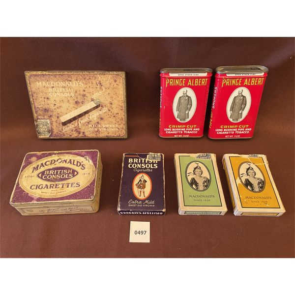 LOT OF 7 - TOBACCO COLLECTIBLES - INCLUDES TINS & PLAYING CARDS