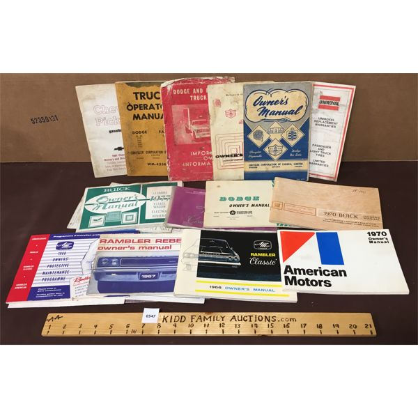 LOT OF ASSORTED OWNER'S MANUALS