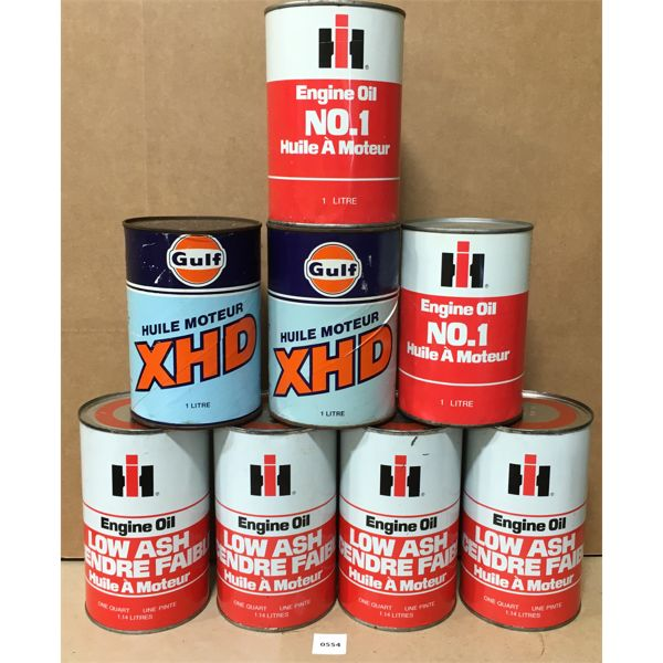 LOT OF 8 MOTOR OIL CANS