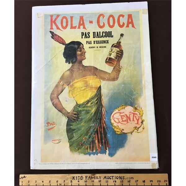 """KOLA-COCA ADVERTISMENT 24"""" X 17"""""""