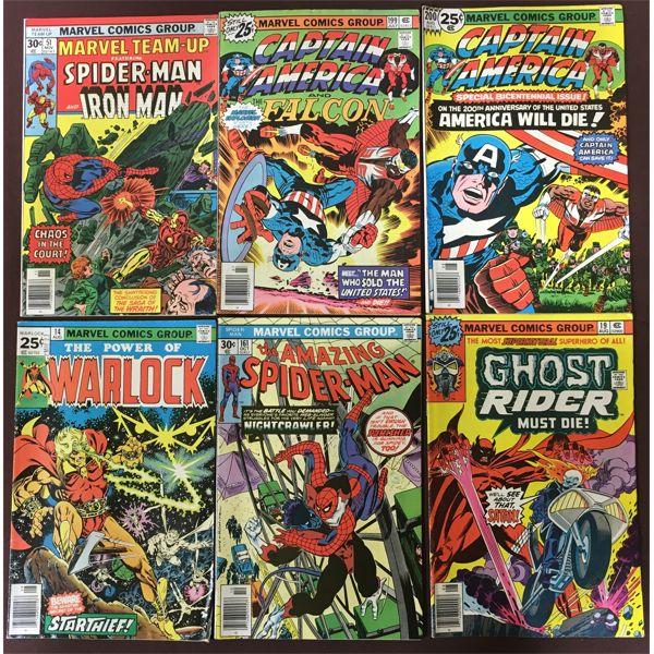 LOT OF 6 MARVEL COMICS; SPIDERMAN & CAPTAIN AMERICA