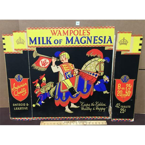 WAMPOLES MILK OF MAGNESIA CARDBOARD DISPLAY