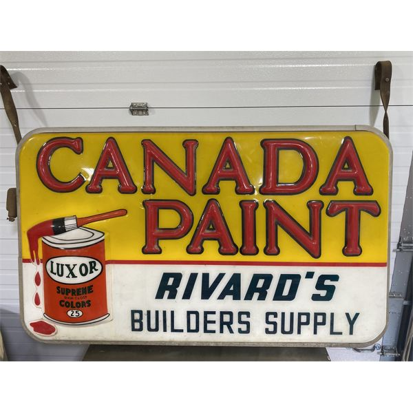 """CANADA PAINT - DOUBLE SIDED EMBOSED ACRYLIC HANGING SIGN - 34"""" X 56"""""""
