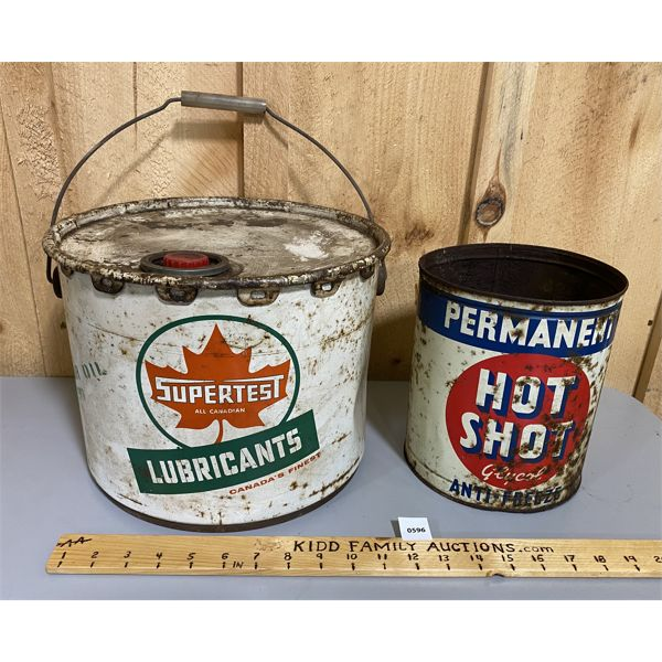 LOT OF 2 - SUPERTEST 25 LBS GREASE PAIL & HOT SHOT 1 GAL TIN