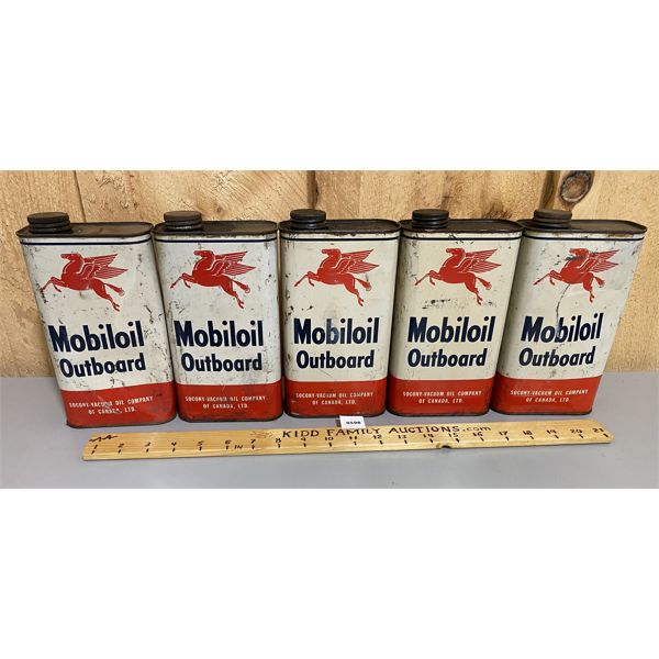 LOT OF 5 - MOBILOIL OUTBOARD TINS - ALL WITH CONTENTS