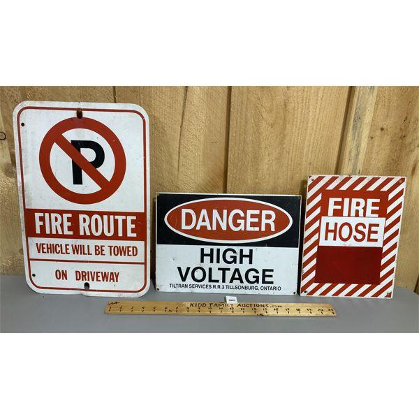 LOT OF 3 - ALUM SIGNS - FIRE / DANGER