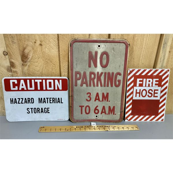 LOT OF 3 - ALUM SIGNS - CAUTION / FIRE / NO PARKING