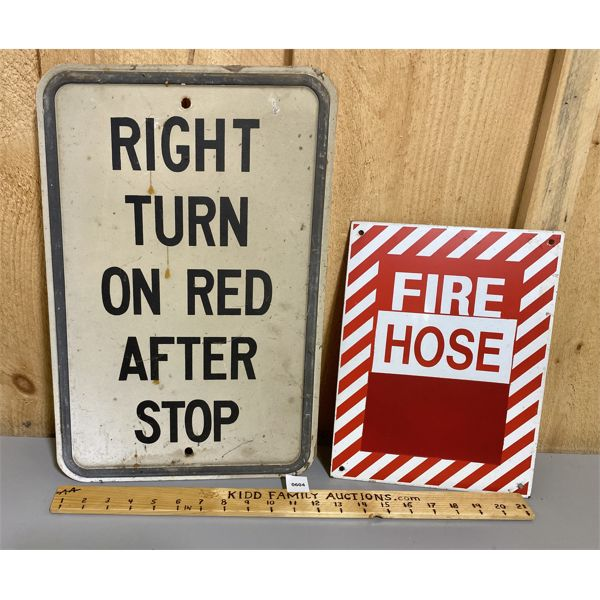 LOT OF 2 - ALUM SIGNS - FIRE HOSE & ROAD SIGN