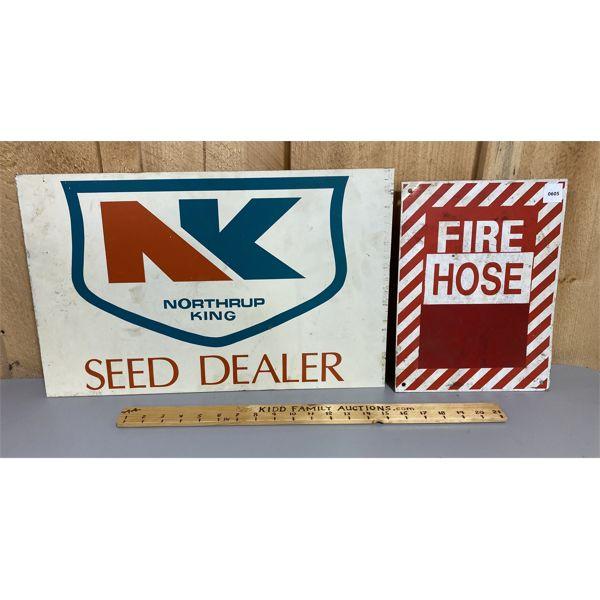 LOT OF 2 - ALUM SIGNS - FIRE HOSE & DS SEED DEALER