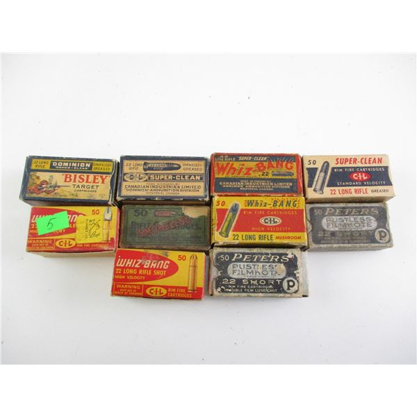 ASSORTED .22 CAL, COLLECTIBLE AMMO LOT