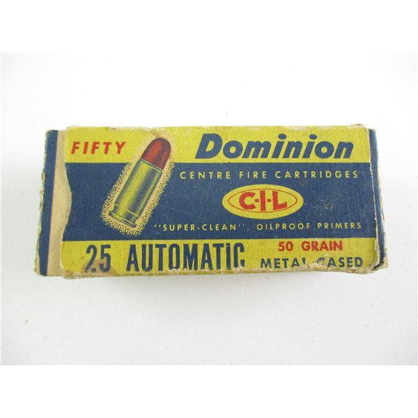 .25 AUTO, DOMINION COLLECTIBLE AMMO