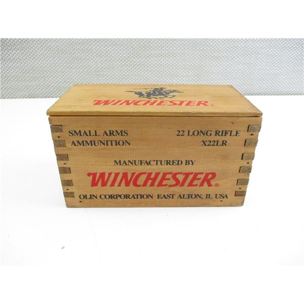 .22 LR, WINCHESTER COLLECTIBLE AMMO IN WOODEN SLIDE OPEN BOX