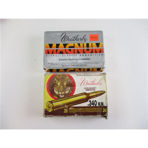 ASSORTED .340 WBY MAG, WEATHERBY AMMO