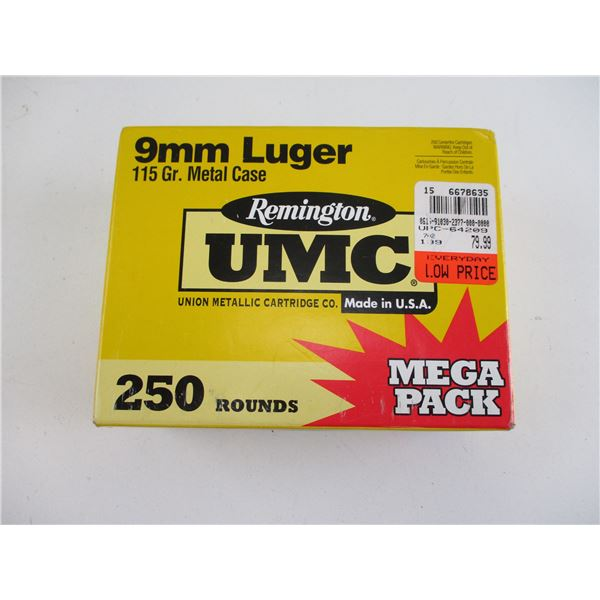 9MM LUGER, REMINGTON UMC AMMO