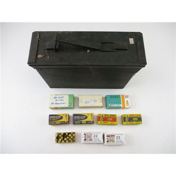 ASSORTED .22 LONG AND .22 SHORT AMMO IN TIN