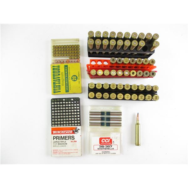 ASSORTED AMMO, PRIMER AND BRASS CASE LOT