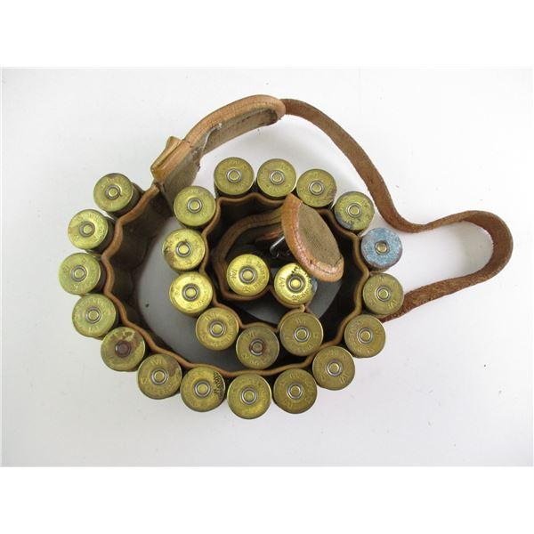 ASSORTED 12 GA SHOT SHELLS ON AMMO BELT