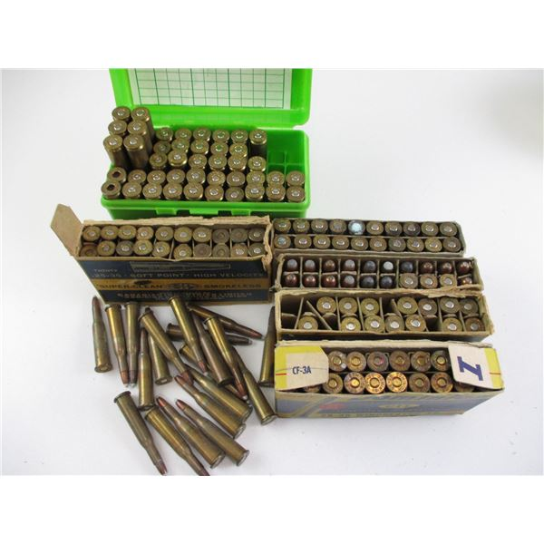 ASSORTED RELOADED AMMO LOT, MAY CONTAIN SOME FACTORY AMMO
