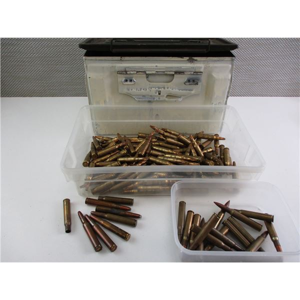 ASSORTED MILITARY AMMO AND BLANKS, IN PAINTED METAL AMMO TIN