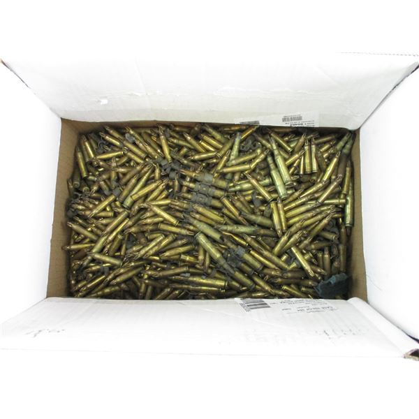 ASSORTED 7.62 NATO, 5.56MM FIRED BLANK BRASS CASES ON MG LINKS