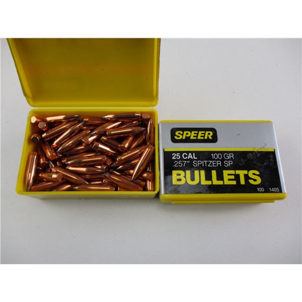 ASSORTED .25 CAL, SPEER BULLETS