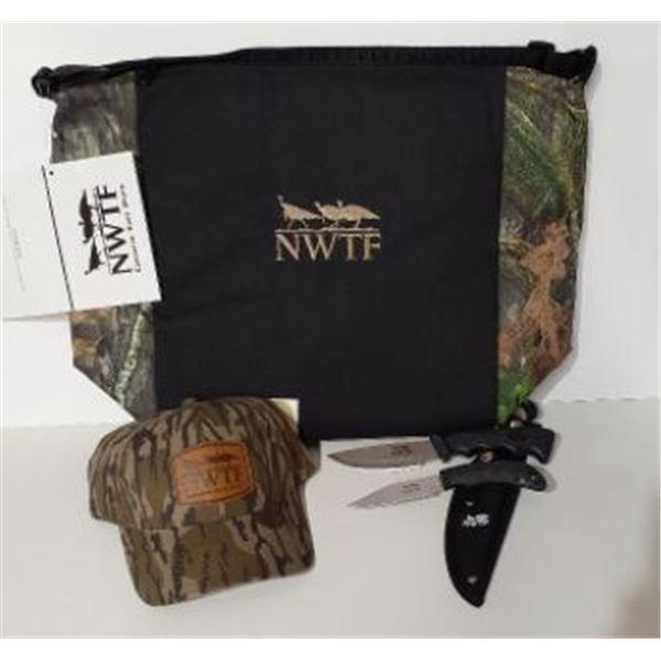 NWTF Cooler bag, hat and 2 piece knife set w/sheath