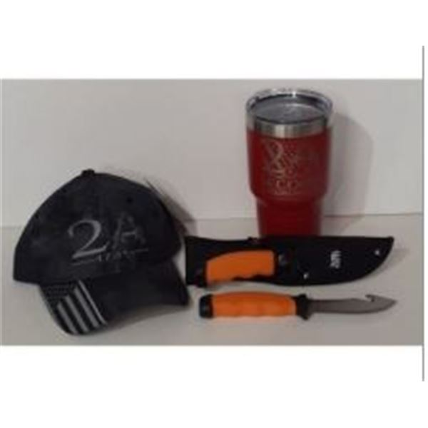 2A Hat, 30oz Tumbler and NWTF Field Knife Pair