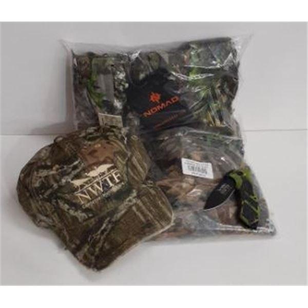 Nomad Leafy 1/4 zip shirt, NWTF hat and folding knife