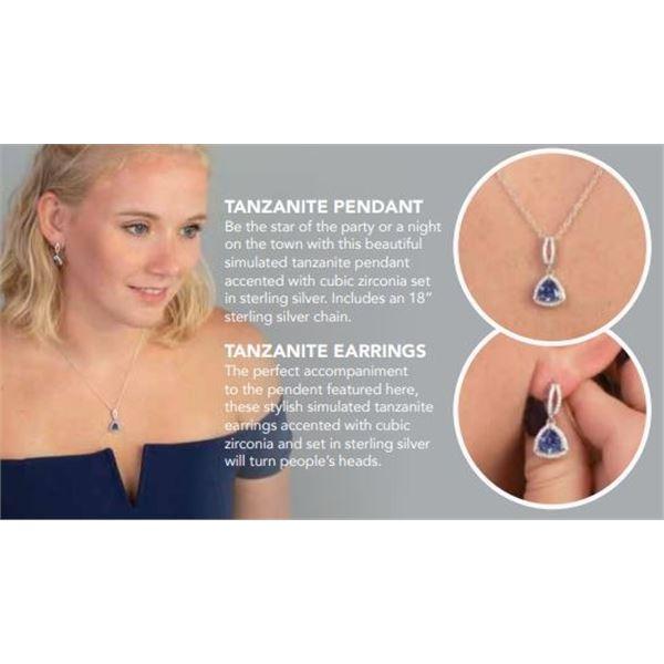 Tanzanite Pendant and Earrings