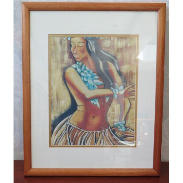 "Framed Print - Hula Dancer by Lola Mallea, Wood Frame 17.5"" x 22"""