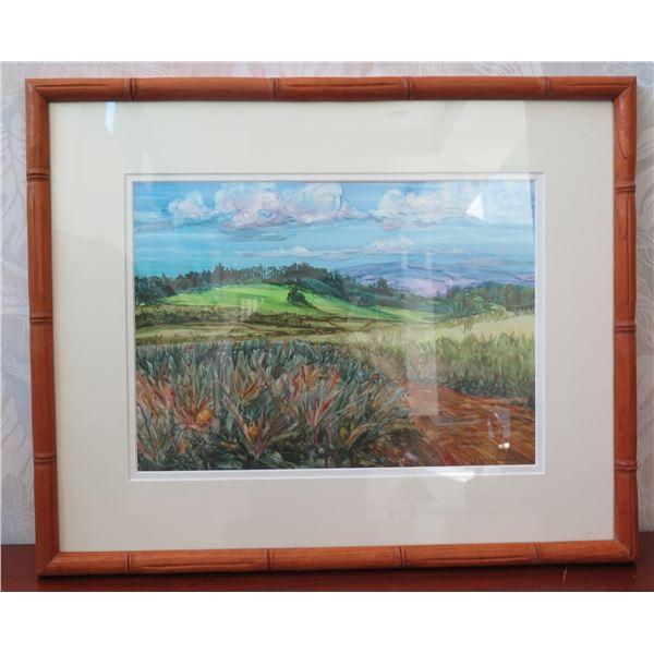 "Framed Original Watercolor - Pineapple Fields Forever by C. Mc Elfresh, Wood Frame 18"" x 21"""