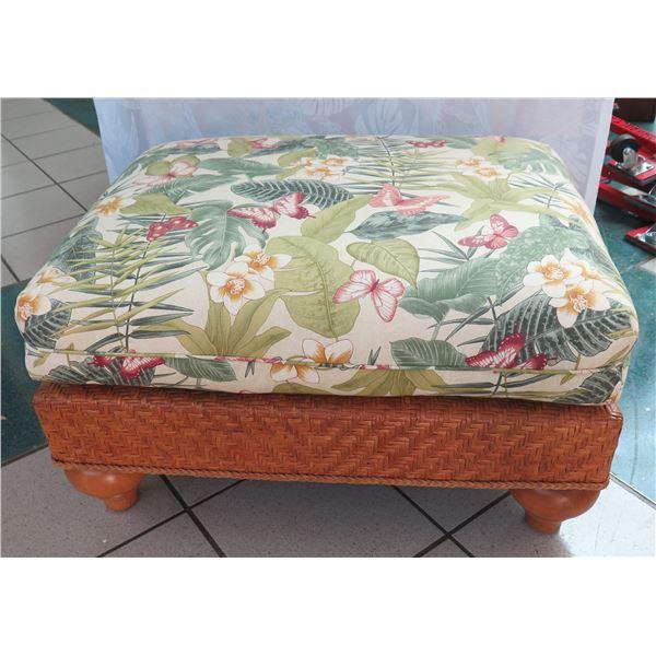 "Henry Link Woven Rattan Ottoman w/ Tropical Print Cushion 32""x24""x18""H"
