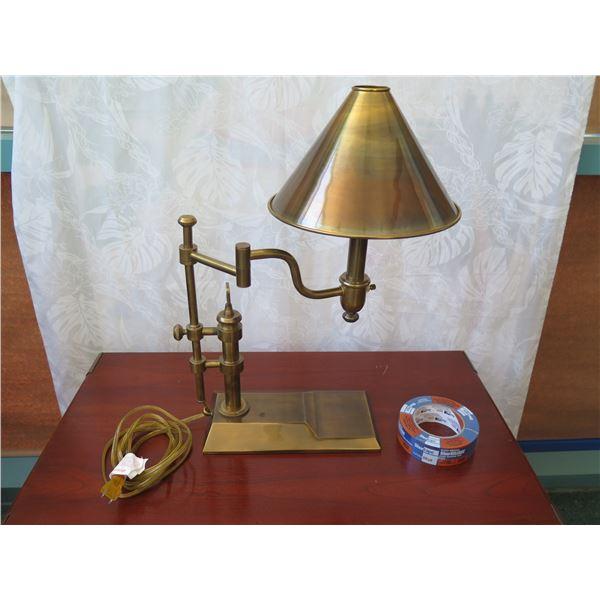 """Polished Brass Desk Lamp w/ Swiveling Arm (base is 11""""x wide, 22"""" tall)"""