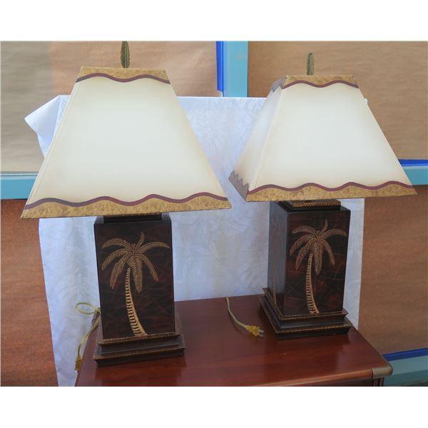 "Pair of Resin Block Lamps w/ Shades, Tropical Palm Tree Motif 32"" Tall"