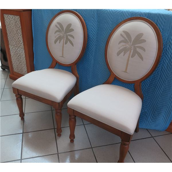 """Qty 2 Grid-Backed Wooden Chairs with Palm Tree Motif (one seat cushion is torn) 21""""W x 19""""D x 42"""" Ba"""