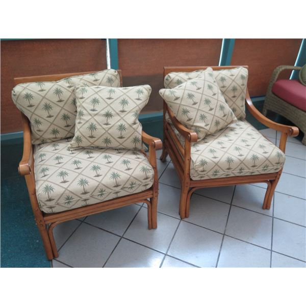 """Qty 2 Tommy Bahama Chairs w/ Carved Pineapple Back 28""""W x 28""""D x 34"""" Back Ht"""